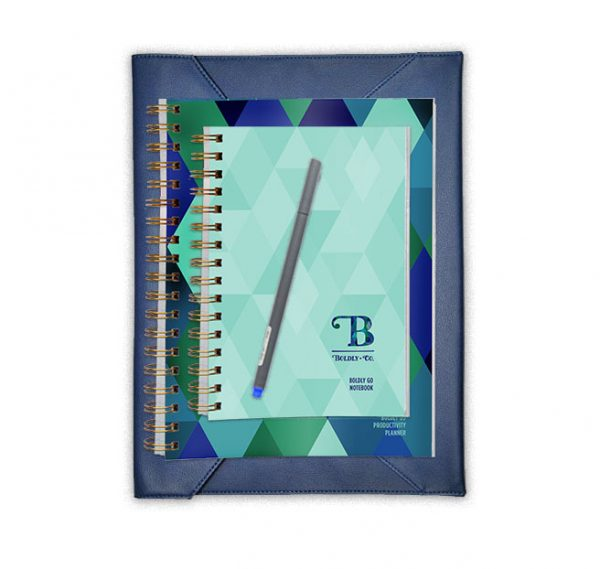 Boldly Go Notebook, Fineliner Pen Set, and Navy Planner Case